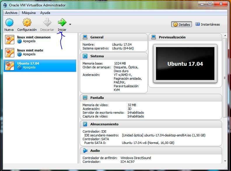Ubuntu 17.04 iniciar máquina