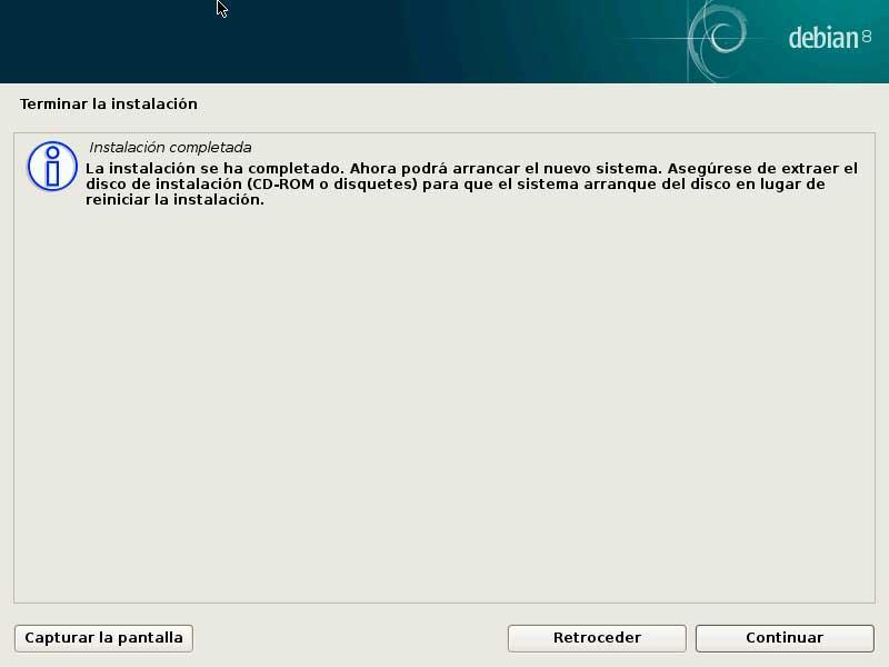 Debian instalacion finalizada