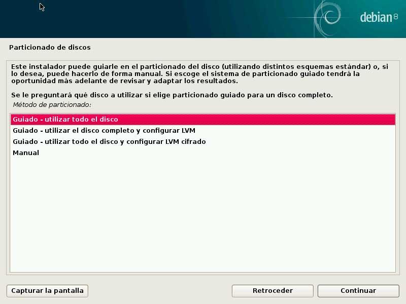 Debian particionado todo HDD