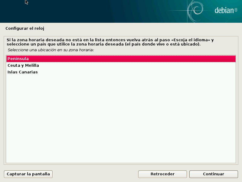 Debian configurar reloj