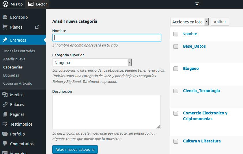 Categorias articulos WordPress
