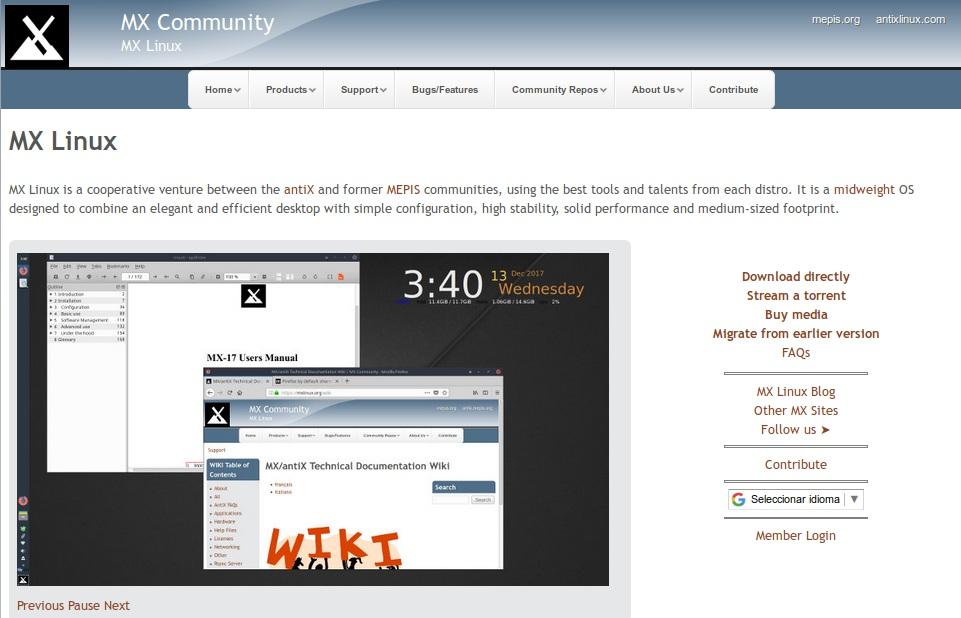 MX-Linux: Pagina Web Oficial