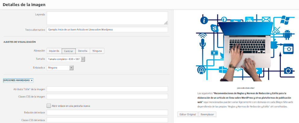 Uso de imágenes en WordPress