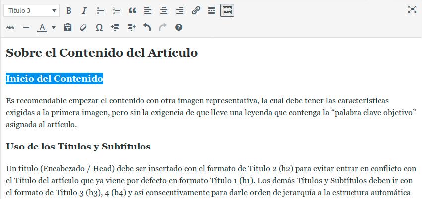 Títulos y subtítulos en un artículo en linea con WordPress