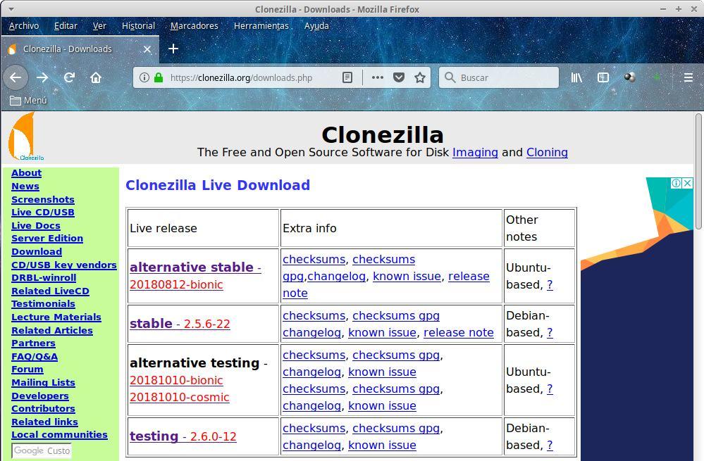 Clonezilla: Crear imágenes de disco - Tutorial Parte 1