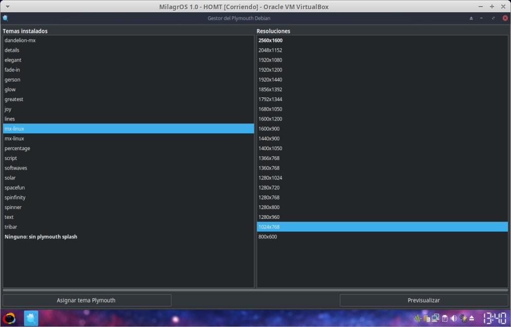 Debian-Plymouth en MilagrOS 1.0