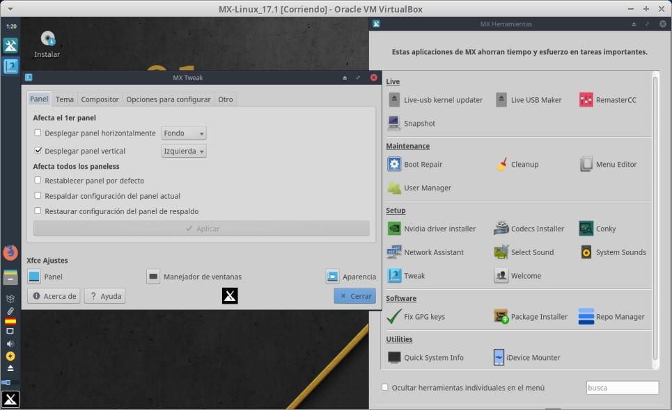 MX-Linux 17.1: MX-Tweak y MX-Tools