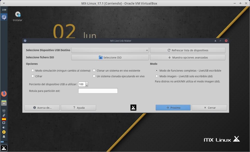 MX-Linux 17.1: MX Live USB Maker