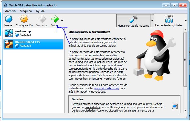 Ubuntu 18.04 iniciar máquina