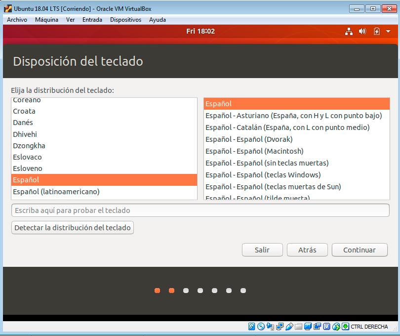 Ubuntu 18.04 teclado español