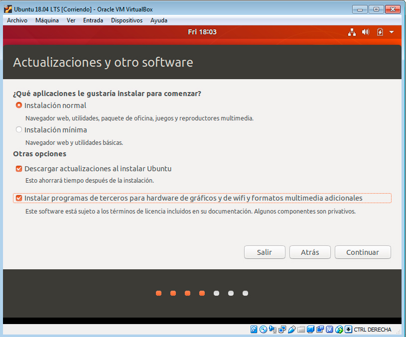 Ubuntu 18.04 instalación normal