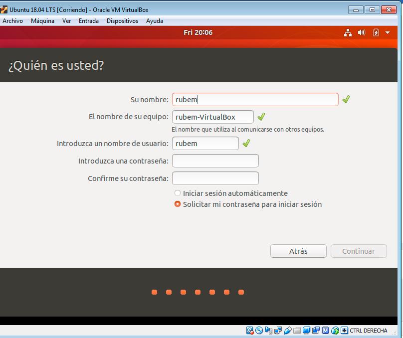 Nombre y clave Ubuntu 18.04