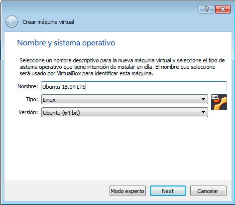 Ubuntu 18.04 nombre y tipo