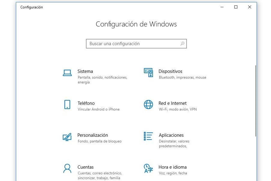 acceso a panel de control windows 10