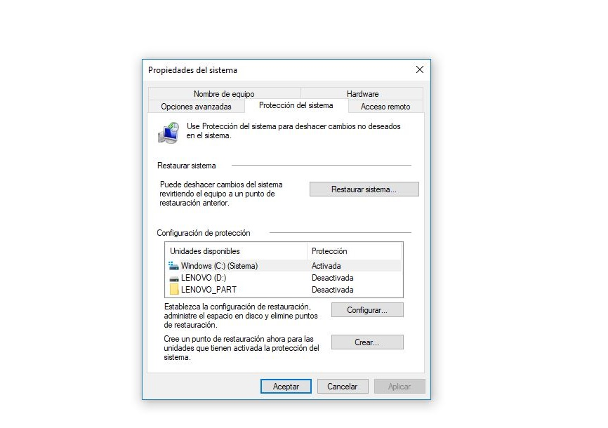 activar punto de restauracion windows 10