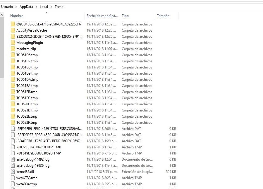 carpeta archivos temporales windows 10