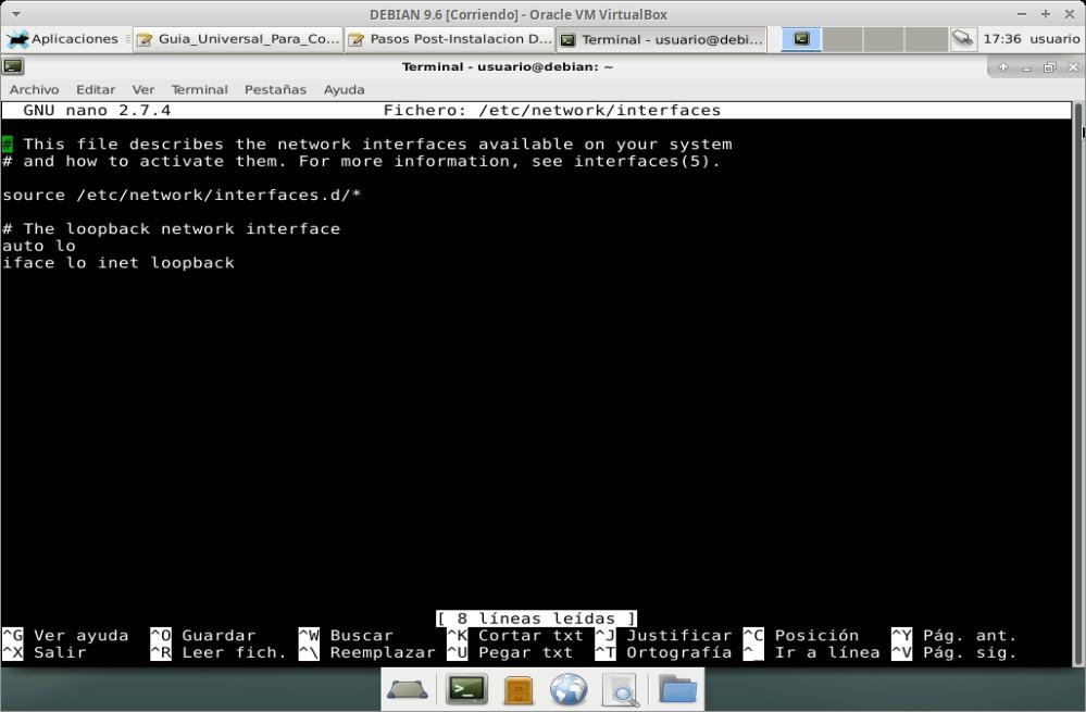 """Guia Post Instalación: Editar archivo """"interfaces"""""""