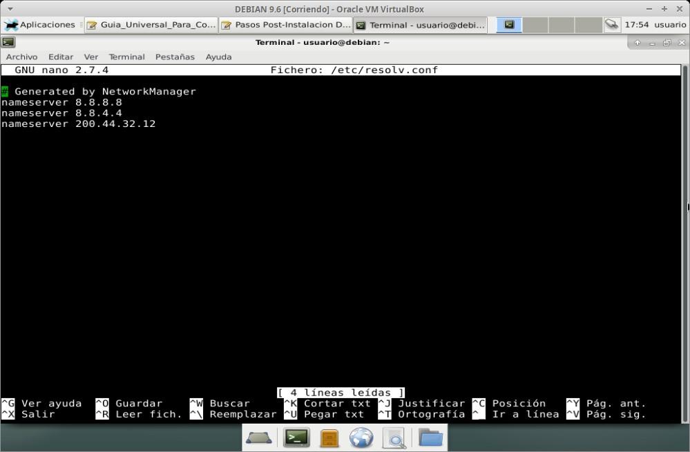"""Guia Post Instalación: Editar archivo """"resolv.conf"""""""