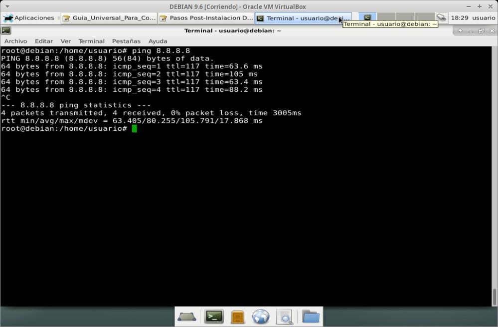 Guia Post Instalación: Probando conexión al Servidor DNS