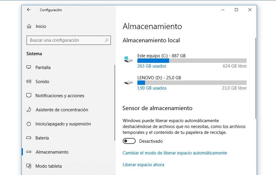 configuracion almacenamiento windows 10