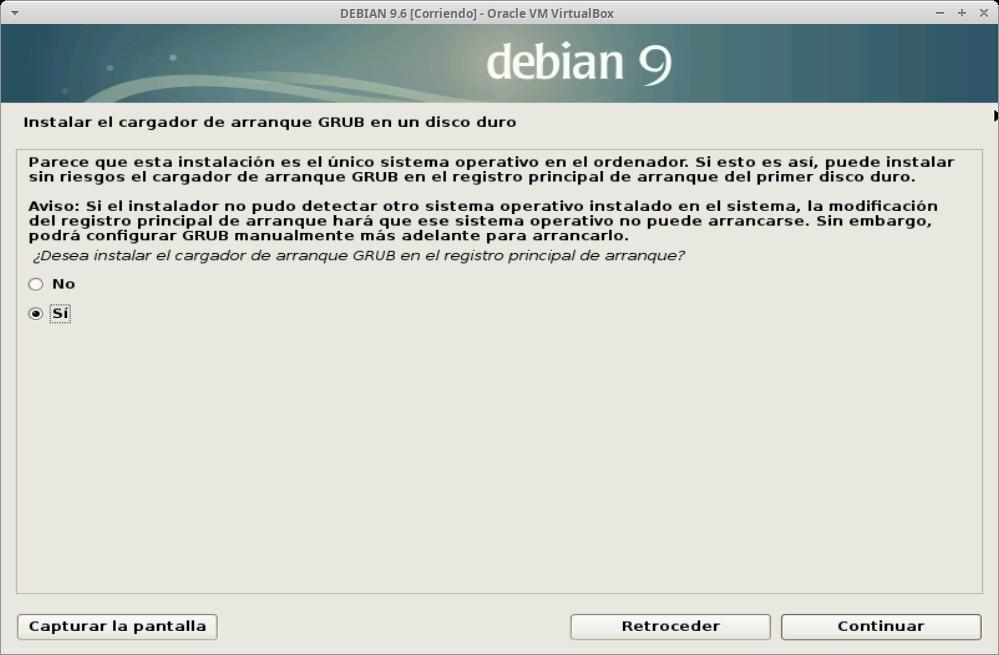 Paso 25a - Instalación de DEBIAN GNU/Linux 9.6