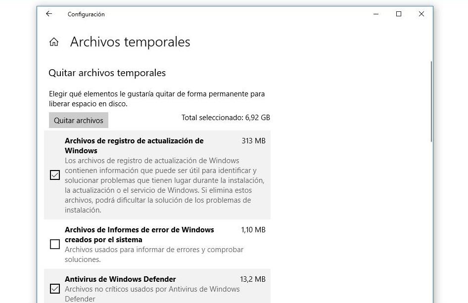 quitar archivos temporales windows 10