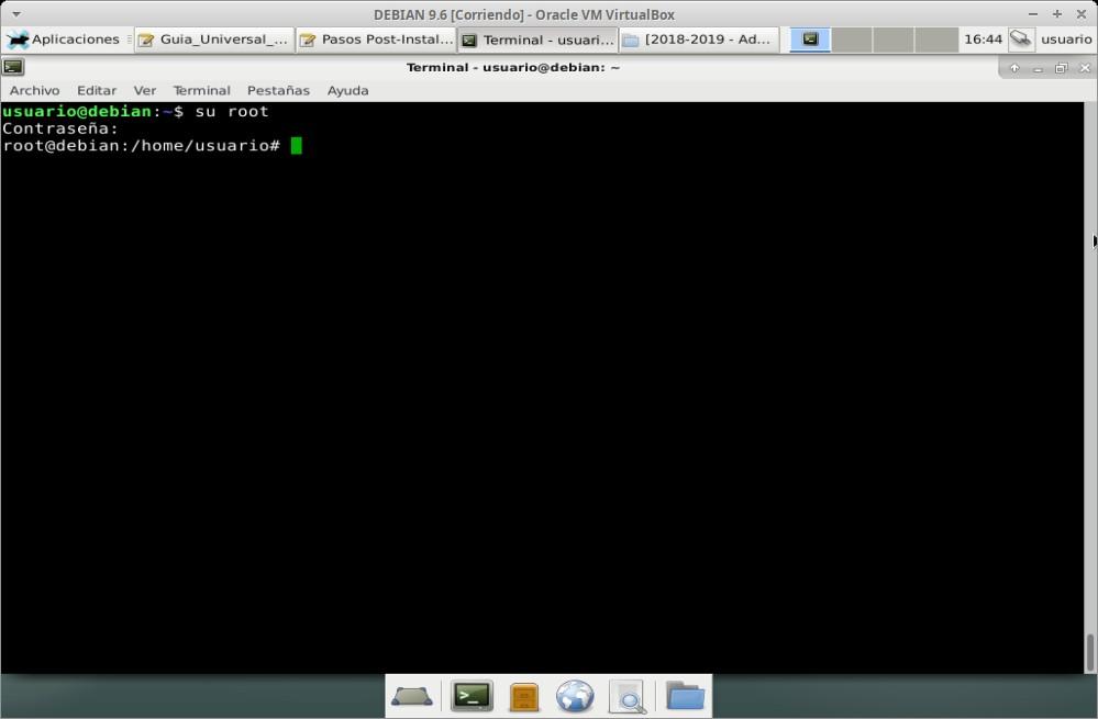 Guia Post Instalación: Iniciar Terminal y sesión de root