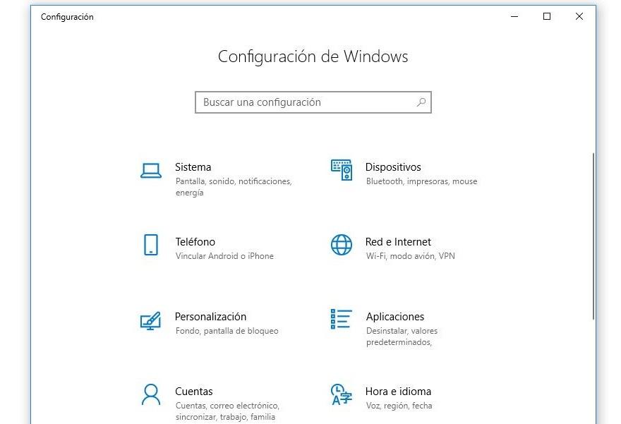 acceso a configuracion windows 10