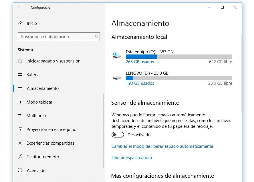 apartado almacenamiento windows 10