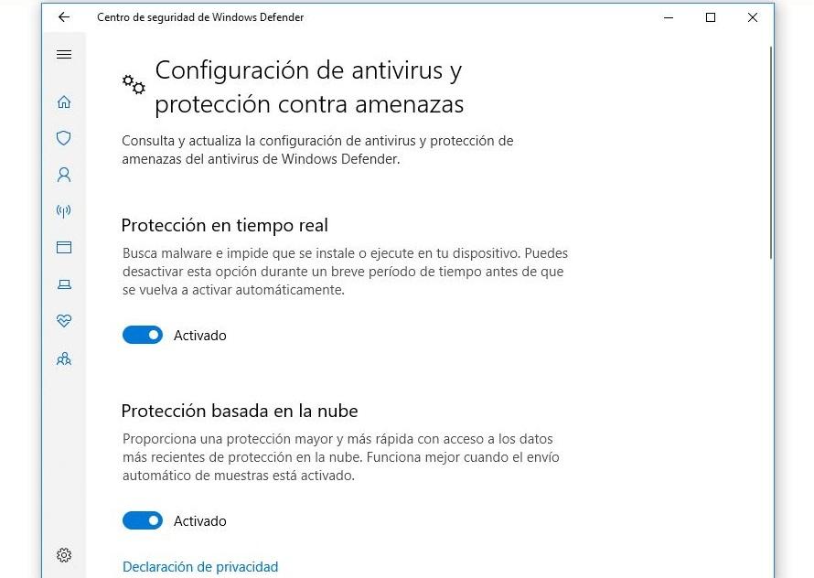 configuracion antivirus windows defender