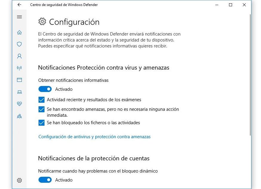 configuracion notificaciones windows defender