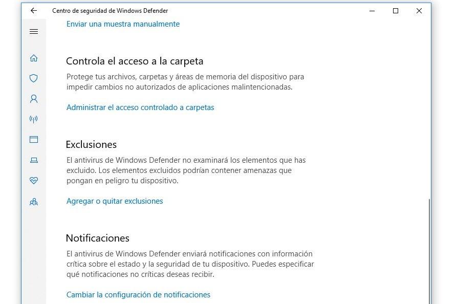 configuracion windows defender