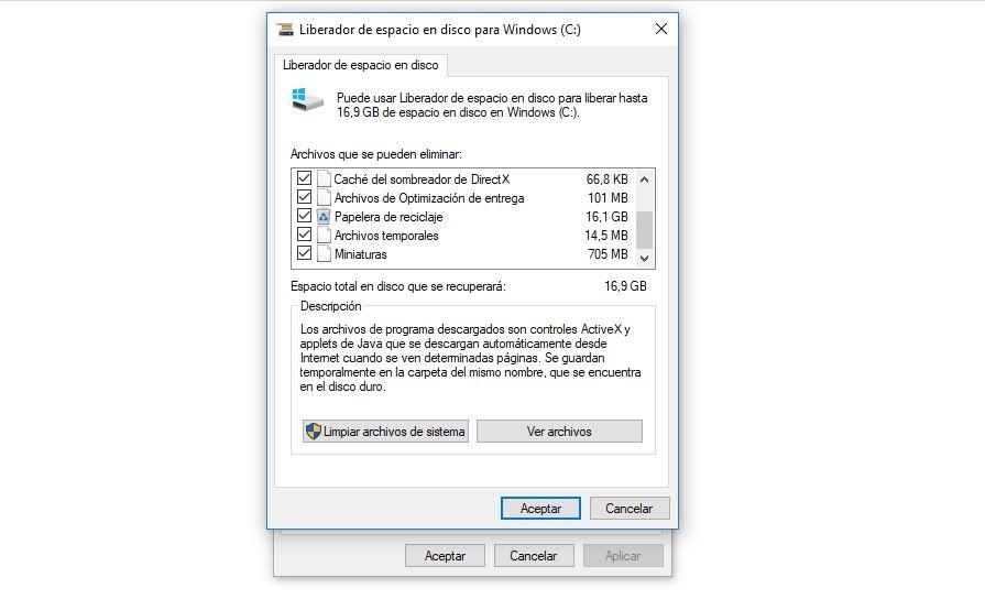 liberador de espacio en disco windows 10