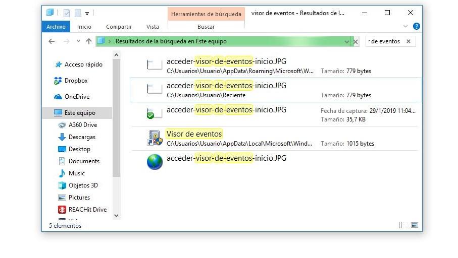 acceder visor de eventos explorador de archivos