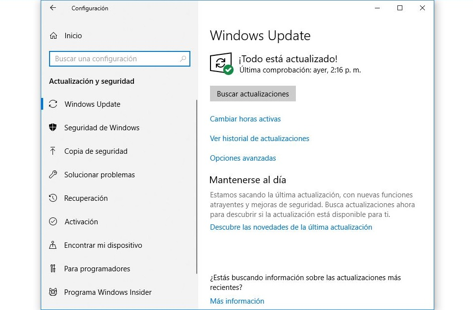 actualizacion y recuperacion windows 10
