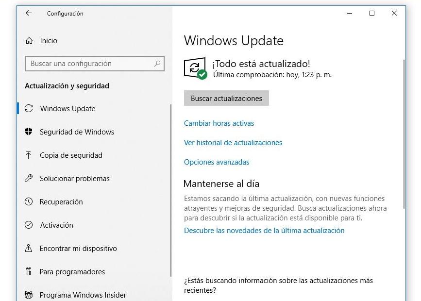 actualizacion y seguridad windows10