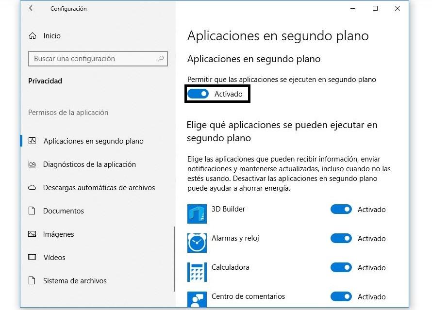 aplicaciones en segundo plano windows 10