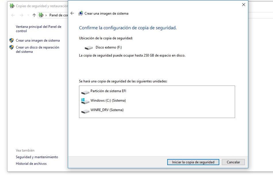 confirmar configuracion copia de seguridad
