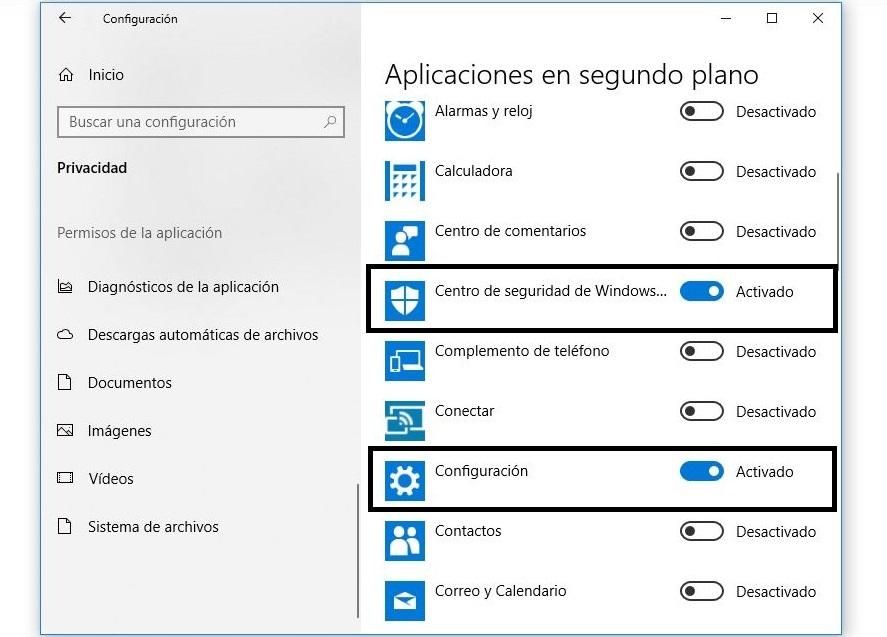 desactivar aplicaciones en segundo plano windows 10