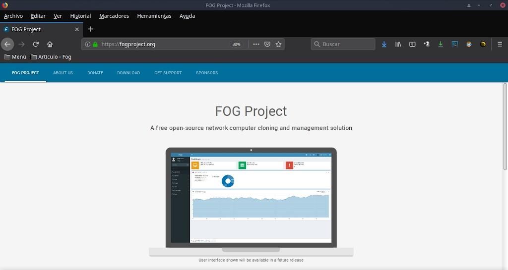 Fog Project: Portada de Página Web