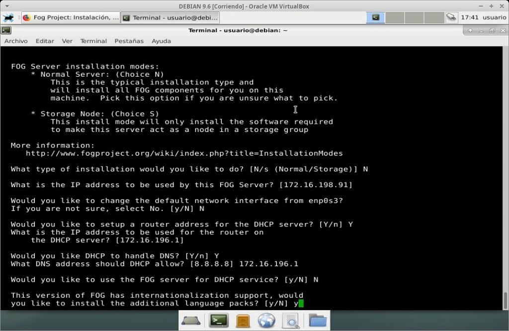 Fog Project: Instalación en MV Debian 9.6 - Paso 12