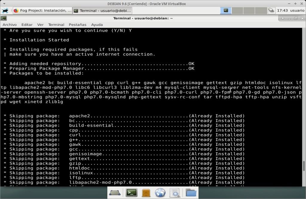 Fog Project: Instalación en MV Debian 9.6 - Paso 14