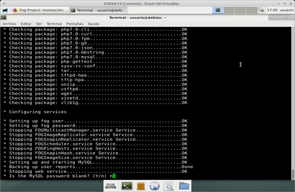 Fog Project: Instalación en MV Debian 9.6 - Paso 17