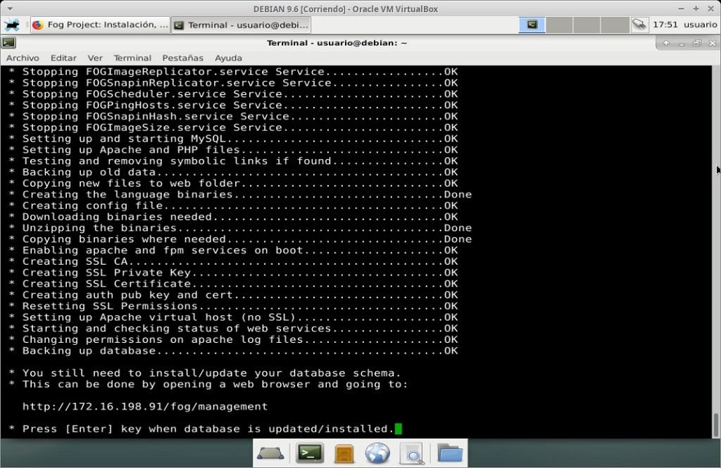 Fog Project: Instalación en MV Debian 9.6 - Paso 19