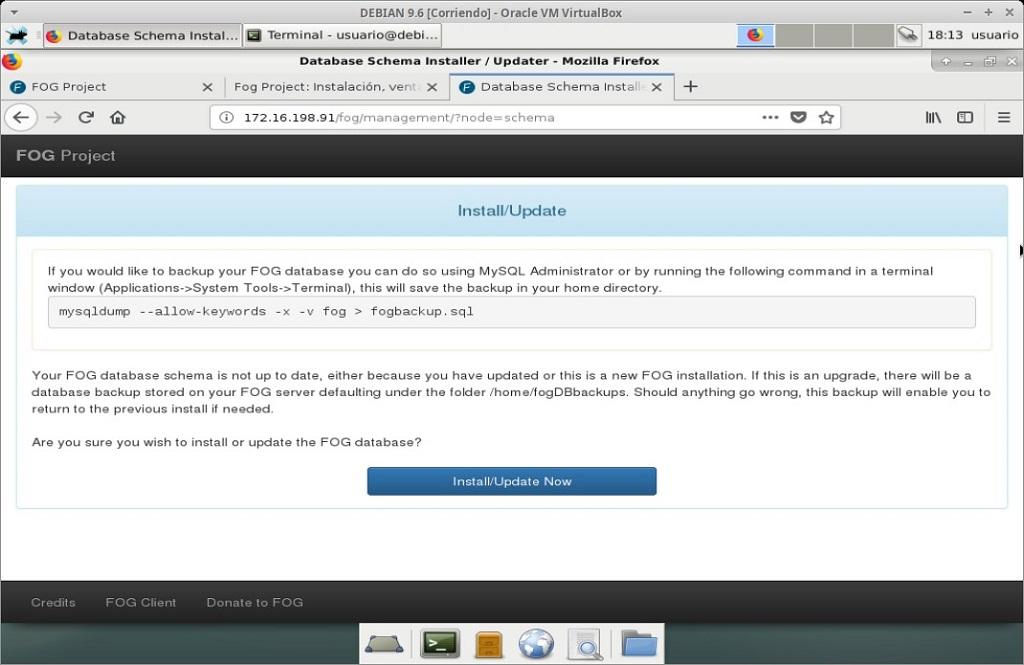 Fog Project: Instalación en MV Debian 9.6 - Paso 20