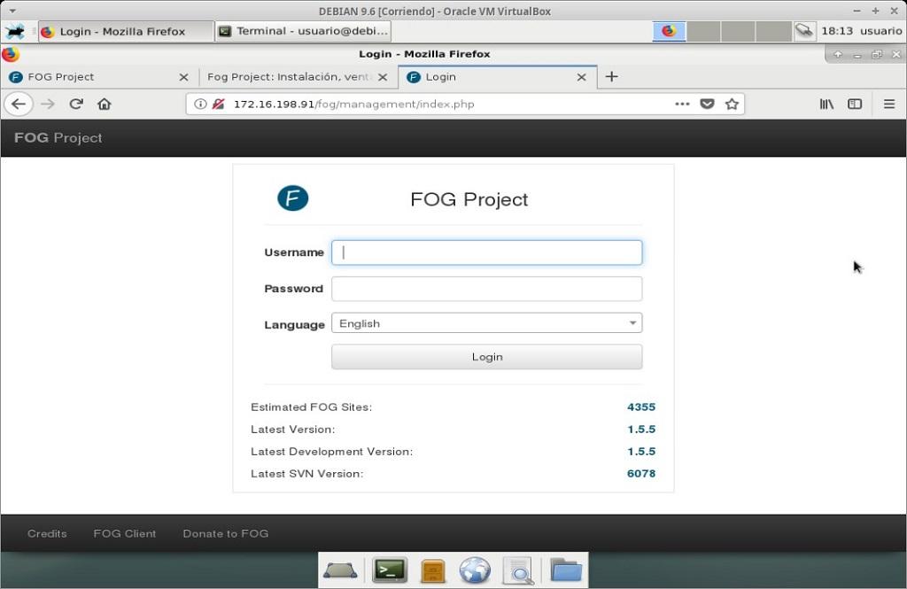 Fog Project: Instalación en MV Debian 9.6 - Paso 22