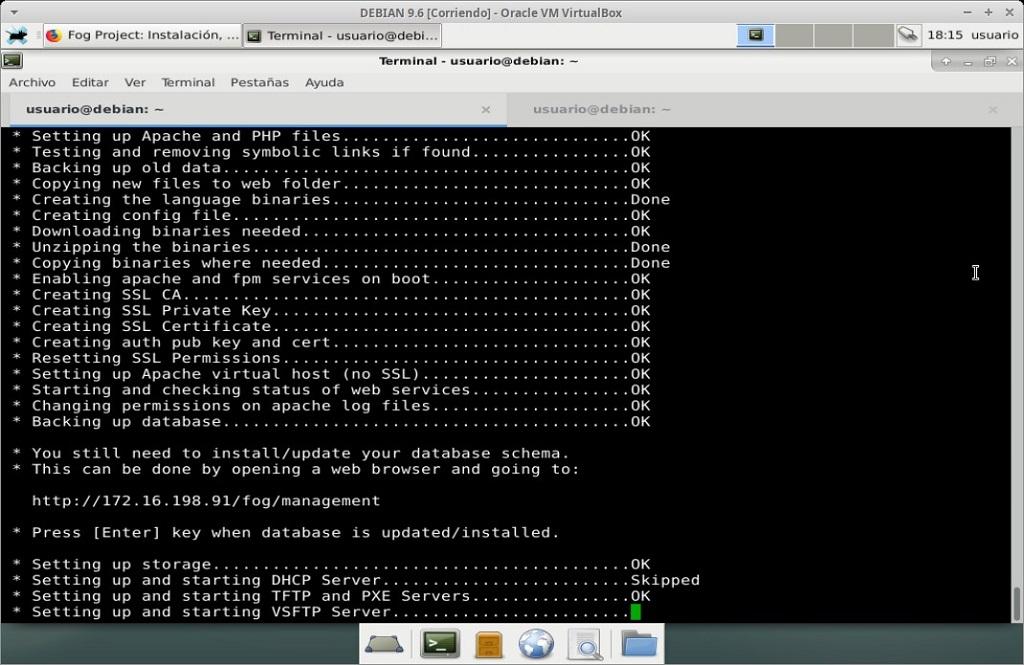 Fog Project: Instalación en MV Debian 9.6 - Paso 23