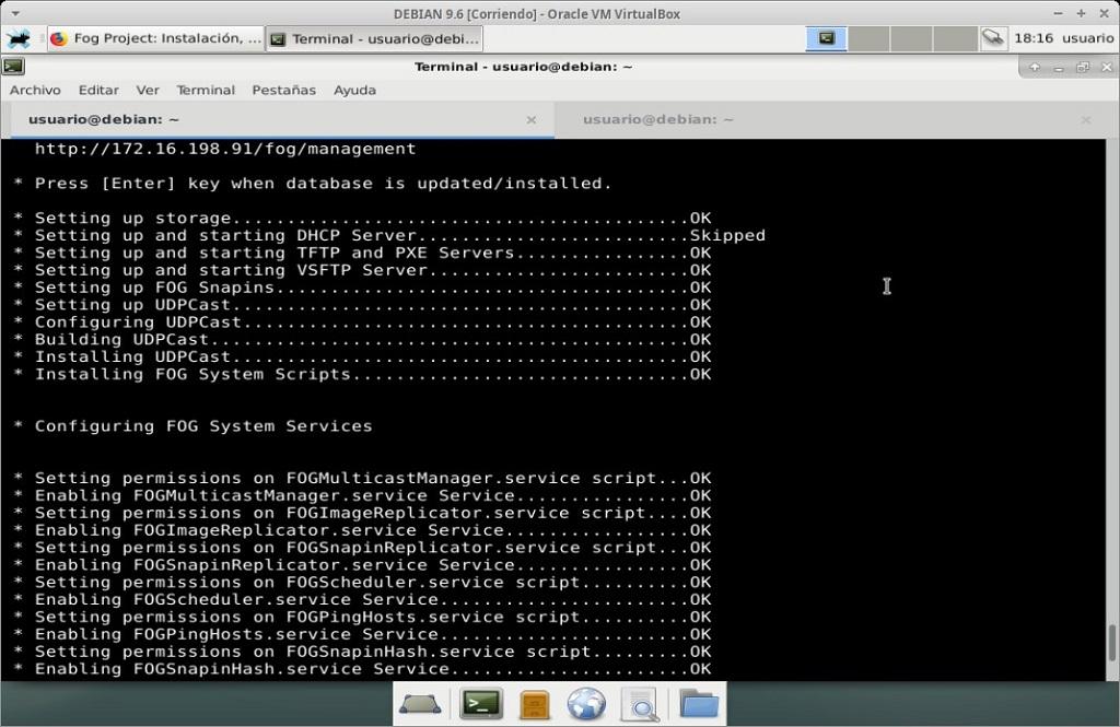 Fog Project: Instalación en MV Debian 9.6 - Paso 24