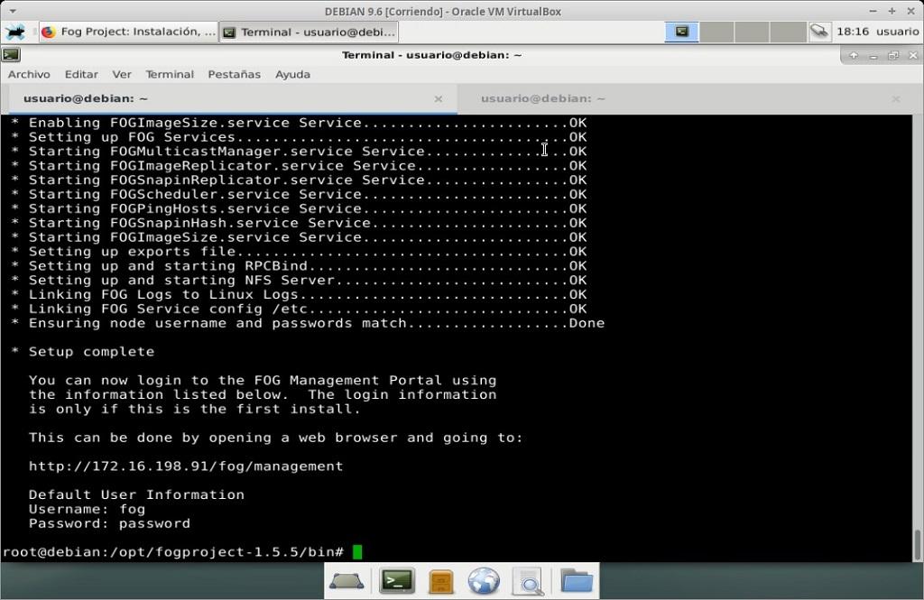 Fog Project: Instalación en MV Debian 9.6 - Paso 25