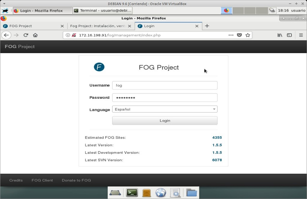 Fog Project: Instalación en MV Debian 9.6 - Paso 26